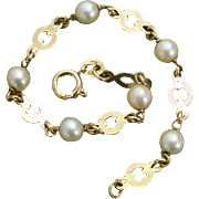 "SALE Valentines Sale ! Beautiful 14K Gold & Akoya Cultured Pearls 6.75"" Bracelet -- Signe"