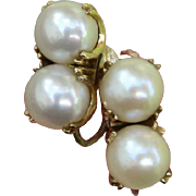 SALE Valentines Special ! Radiant Double Akoya Cultured Pearl Japanese 14K Gold & Sterling Ear