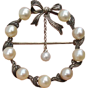 SOLD Gorgeous Older Mikimoto Circle w/ Bow Akoya Cultured Pearls Brooch