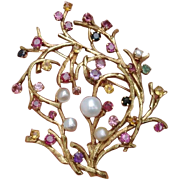 """SOLD Special Sale ! Exquisite 18K Gold LARGE 2.65"""" Vintage Cultured Pearl, Ruby, Sapphire"""