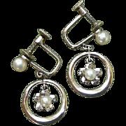 Mikimoto Japanese Akoya Flowers Cultured Pearls & Sterling Earrings