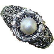 SALE Valentine's Sale ! Stunning Cultured Mabe Pearl Flower Heavy Sterling Cuff Bracelet