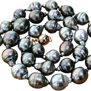 REDUCED EXQUISITE Colors ! AAA Baroque 14mm Tahitian South Sea Cultured Pearls & Vermeil 18.25
