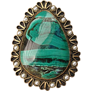 """SALE Valentines Special ! Beautiful Large 2.15"""" Malachite Gold over Sterling Silver Verme"""