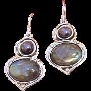 SALE Luminous Blue / Green Labradorite & Black Cultured Pearl Sterling Dangle Earrings - Signe