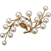 """SOLD GORGEOUS Signed MIKIMOTO Large 2.2"""" Akoya Cultured Pearl 14K Gold Vintage Brooch - 1"""