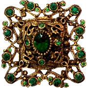 "Exquisite Large 2.35"" Austro Hungarian Green Pastes Brooch - late 1800's Antique"