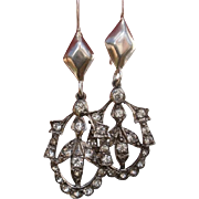 Edwardian English Sterling Silver with Foiled Paste Stone Earrings - c. 1900 Antique
