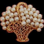 "Gorgeous & Large 1.8"" Vintage Flower Basket Faux Pearl Brooch, 1960's - 70's"