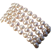 SALE Gorgeous 5 Strand Japanese Akoya Cultured Baroque Pearls & Sterling Vintage Bracelet