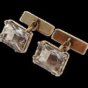 SALE Valentines Special ! Rock Quartz Crystal Cufflinks, 875 Silver Gilt - Russian Hallmark, .