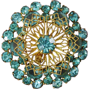 GORGEOUS Late Victorian Green Blue Paste 9K Filigree Brooch / Pendant, Antique 1880 - 1890
