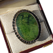 SALE Antique Gorgeous HUGE Green Moss Agate Chalcedony Gemstone Sterling Ring - Size 7.5