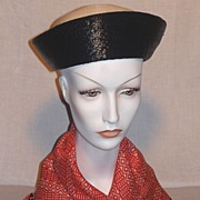 Vintage 1960s Chesterfield Original Black and White Straw Breton Style Hat