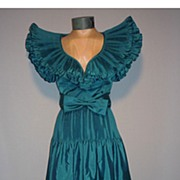 SALE Vintage 1980s Victor Costa Teal Taffeta Evening Dress
