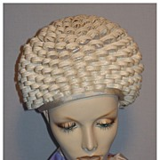 SALE Vintage 1960s Mr John Jr Loopty Loop Off White Straw Bubble Toque Hat