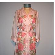 SALE Vintage 1970s Alfred Shaheen Pink Floral Dress