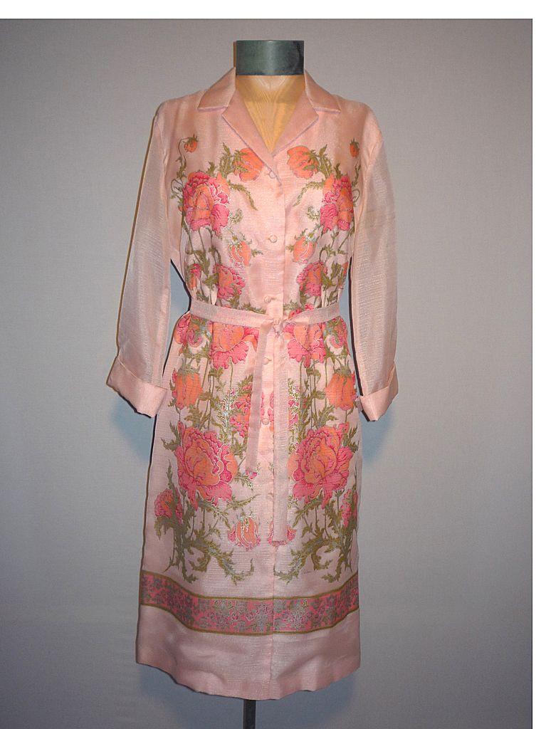 Vintage 1970s Alfred Shaheen Pink Floral Dress