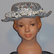 SALE Vintage 1950s Little Girl's Powder Blue Woven Straw Hat With Forget-Me-Nots