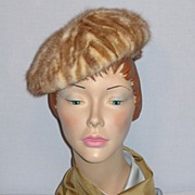 SALE Vintage 1960s Vera Whistler Caramel and Cream Mink Hat