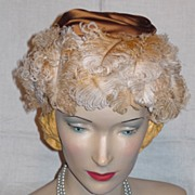 Vintage 1950s  Saks Fifth Avenue Millinery Salon Ostrich Feather Hat
