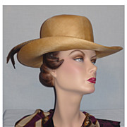 SALE Vintage 1980s Adolfo II Straw Hat with Pheasant Feathers