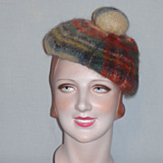 SALE Vintage 1960s Mohair and New Wool Plaid Tam Made in Scotland