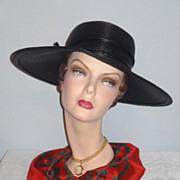 SALE Vintage 1960s  Black Straw Wide Brim Picture Hat