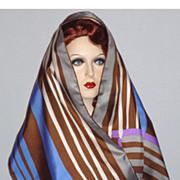 SALE PENDING Vintage 1970s  Schiaparelli  Striped Silk Scarf