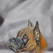 Vintage Boxer Dog Hand Painted Silk Scarf