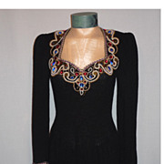 SALE Vintage 1970s Lillie Rubin Black Knit Dress With Spectacular Beaded Neckline