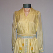 SALE Vintage 1970s Alfred Shaheen Yellow Floral Evening Dress