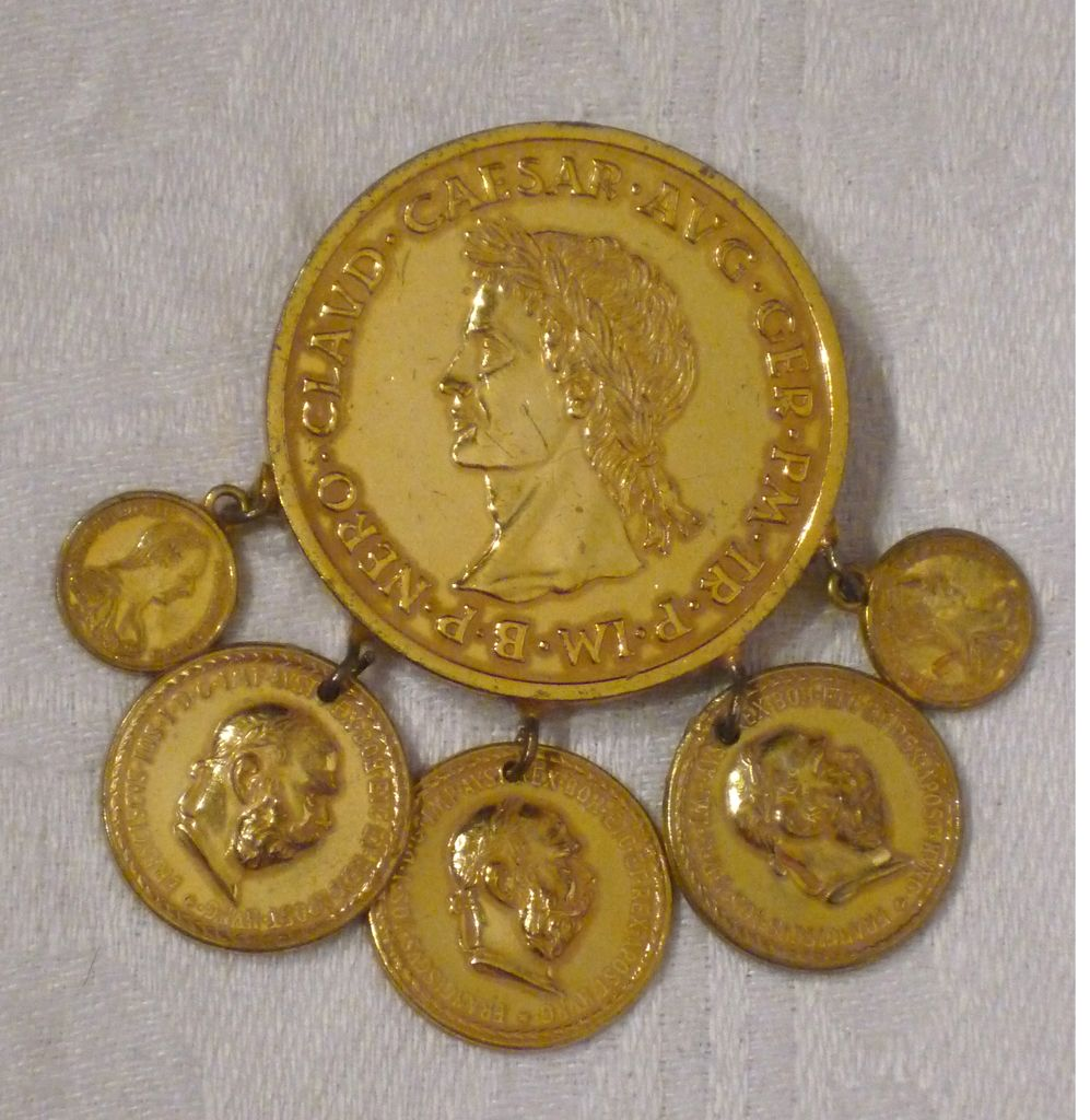 Vintage 1970s  Miriam Haskell Coin Brooch Pin