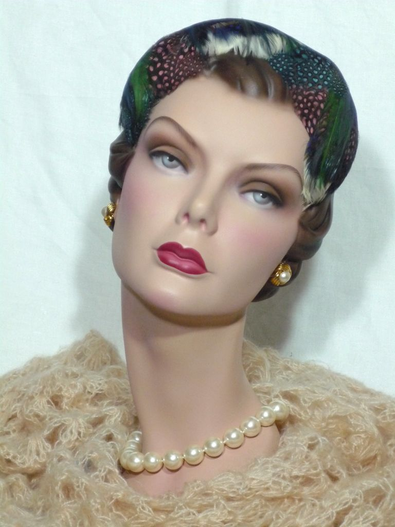 Vintage Late 1950s-Early 1960s  Mr Milton  Feather Hat Sold at  Bonwit Teller Philadelphia