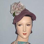 SALE Vintage 1940s  Jacques Fath Reproduction of Original  Paris Velour Hat With Rose Detail