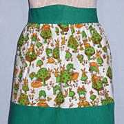 Vintage 1960s Mushroom Print Cotton Apron