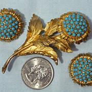 Vintage Late 1960s-Early 1970s Hattie Carnegie Floral Brooch and Earrings