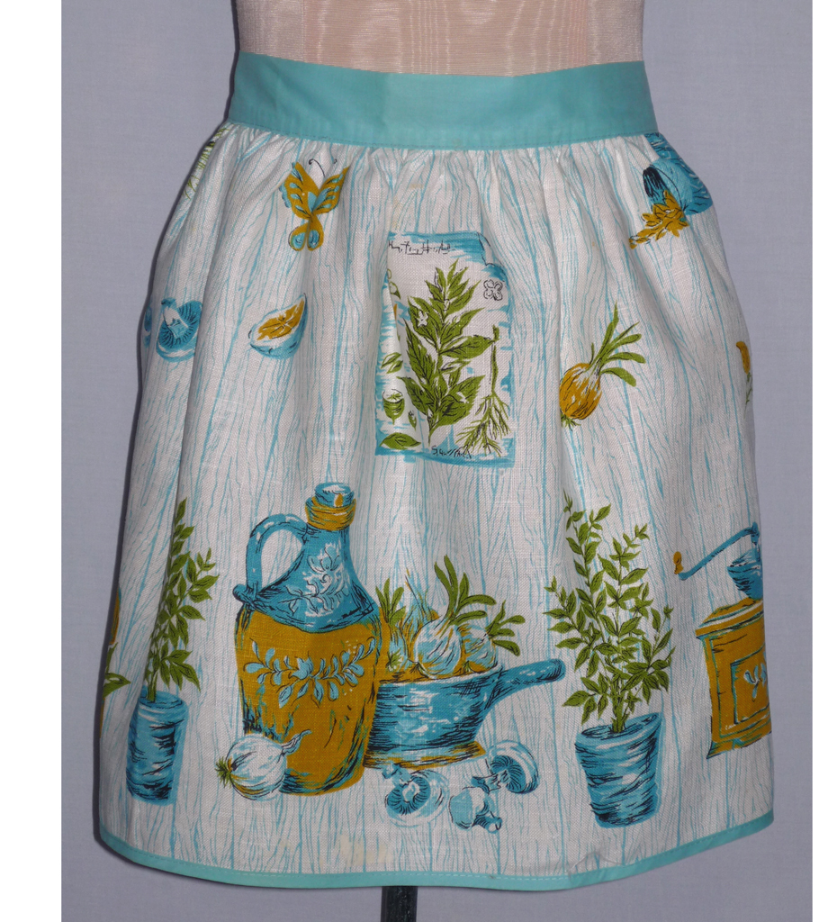 Vintage 1960s Kitchen Print Linen Apron from