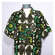 SALE Vintage 1960s  Sterling Mossman's Barefoot In Paradise Print Hawaiian Shirt