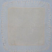 SALE Vintage White Linen Wedding Hanky With Handmade Lace Edge