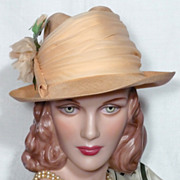 SALE Vintage 1980s Adolfo II Peach Straw Fedora With Rose Detail