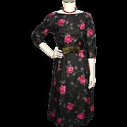 SOLD Vintage 1960s Black Silk Dress Rose Floral Print