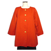 SALE Vintage 1980s Yves Saint Laurent Rive Gauche Tomato Red Swing Coat