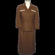 Vintage 1950s Brant Leigh Dallas 2pc Brown Linen Suit
