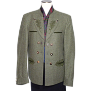 Vintage 1980s Tyrolean Bavarian Green Wool Hunting Jacket Trachten Julius Lang
