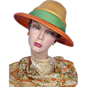 Vintage 1960s Mr Rickie Original Orange Woven Straw Hat