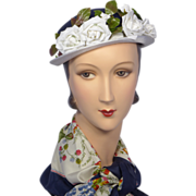 Vintage 1950s Navy Blue Bowler With White Roses