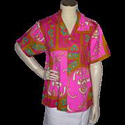 Vintage 1960s Mr Kailua Hawaiian Print  Pink Shirt