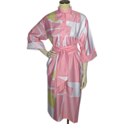 Vintage Late 1970s-Early 1980s Catherine Ogust Forever Dress Pink and White