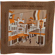 Vintage 1950s Tammis Keefe San Francisco Chinatown Silk Scarf/Hanky